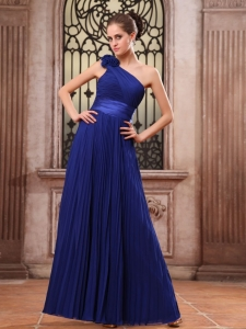 Hand Flowers Pleat Royal Blue Prom Dress One Shoulder