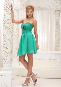 Turquoise Ruched Beading Mini-length Prom Homecoming Dress