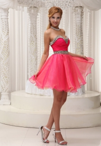 Leopard Ruched Coral Red Prom Homecoming Cocktail Dresses