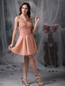 Rust Red Halter Ruch Dama Dresses for Quinceanera Chiffon