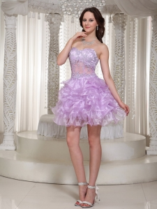 Beaded Homecoming Dress Lilac Sweetheart Appliques Ruffled