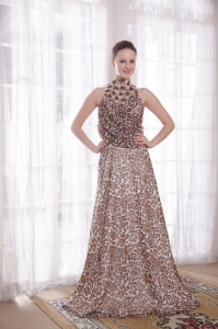 High-neck Leopard Beading Prom Celebrity Dresses Train