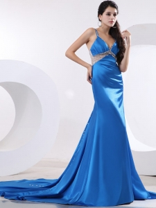 Blue Spaghetti Straps Prom / Evening Dress Beaded Train