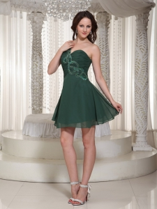Ruched One Shoulder Peacock Green Prom Homecoming Dress