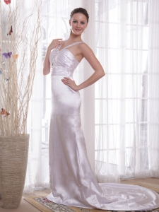 V-neck Court Train Beading Evening Pageant Dresses Ruched