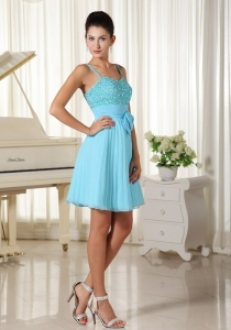 Beaded Bow Spaghetti Straps Aqua Blue Prom Homecoming Dress
