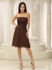 Dama Dresses for Quinceanera Brown Ruched Hand Made Flowers