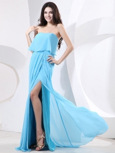 Baby Blue High Slit Ruched Prom Dress Brush Train