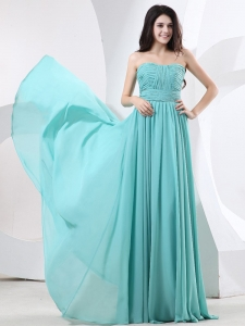 Ruched Strapless Prom Homecoming Dress Green Chiffon