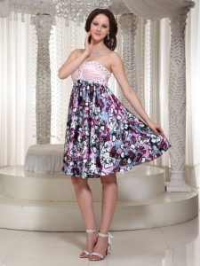 Colorful Printing Beading Homecoming Dress Ruch Sweetheart