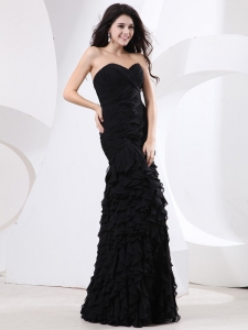 Ruffled Layers Prom Evening Dresses Ruched Sweetheart