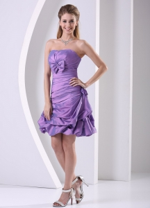 Taffeta Lavender Ruched Bowknot Cocktail Homecoming Dress