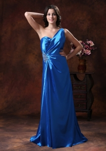 Royal Blue One Shoulder Prom Evening Dress Beading