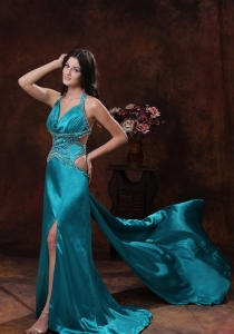 Teal High Slit Halter Beaded Evening Pageant Dress
