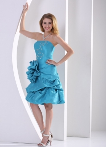 Hand Made Flower Turquoise Cocktail Homecoming Dresses