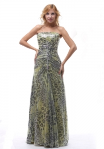 Leopard Colorful Beaded Celebrity Evening Dresses Ruching