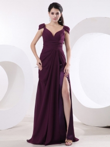 Cap Sleeves V-neck High Slit Dark Purple Prom Evening Dress