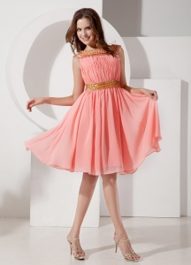 Bateau Beaded Dama Dresses for Quinceanera Watermelon Ruch