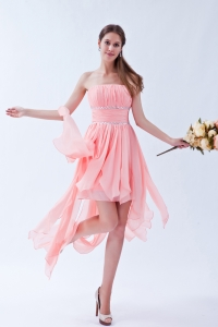 Ruched Chiffon Pink Beading Cocktail Holiday Dresses