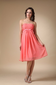 Watermelon Red Dama Dresses for Quinceanera Chiffon Ruch