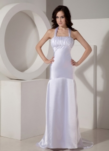 Ruched Halter Prom Evening Dress Elastic Woven Satin