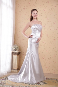 Appliques Court Train Ruch Prom Evening Dress Satin