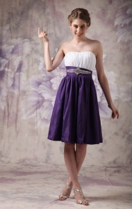 Beaded Ruch Dama Dresses for Quinceanera White and Purple