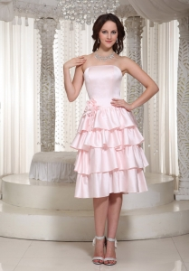 Ruffles Layered Flower Pink Dama Dresses for Quinceanera