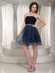 Sequin Blue and Black Beading Homecoming Dresses Ruched
