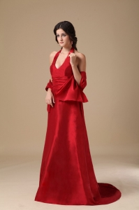 V-neck Satin Ruch Prom Evening Dresses Wine Red Train