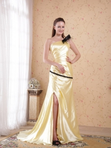 Light Yellow One Shoulder Ruch Evening Celebrity Dresses