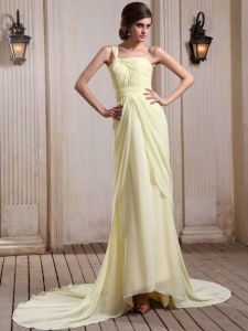 Yellow Green Prom Homecoming Dress One Shoulder Ruch Train