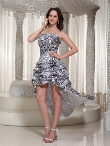 Sexy Leopard High-low Homecoming Cocktail Prom Dress 2013