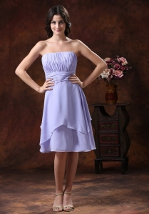 Lilac Dama Dresses for Quinceanera Ruched Strapless Short