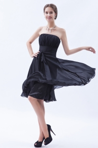 Chiffon Bow Dama Dress Ruching A-line / Princess Knee-length