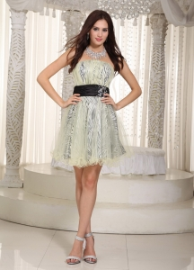 Belt Cocktail Homecoming Dress Knee-length Zebra Appliques