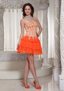 Appliques Homecoming Dress Mini-length Orange Sweetheart