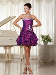 Homecoming Cocktail Dress Purple Appliques Ruched