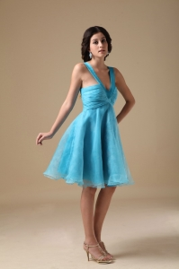 V-neck Straps Prom Cocktail Dress Knee-length Aqua A-line