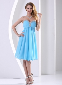 Dama Dress A-line Aqua Blue Sweetheart Beaded Knee-length