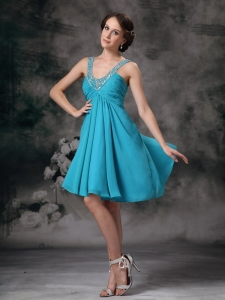 Teal Prom Cocktail Dress V-neck Mini-length Empire Beading