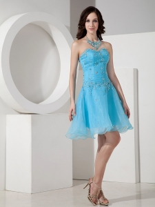Mini-length Homecoming Dress Baby Blue Sweetheart Beading