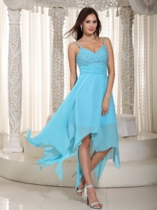 Asymmetrical Dama Dress Baby Blue Empire Straps Ruching