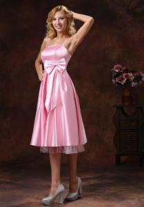 Spaghetti Straps Dama Dress Sash Tea-length Baby Pink