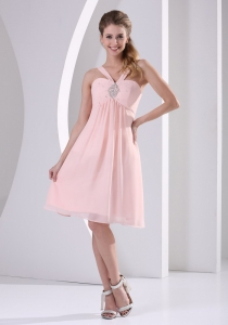 Baby Pink Dama Dress Beading Straps V-neck Knee-length