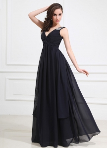 Beaded V-neck Straps Prom Dress Black Chiffon Empire