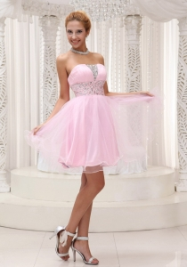 Beaded Prom Homecoming Dress Baby Pink Mini-length
