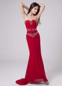 Watteau Train Prom Dress Red Beading Column Sweetheart