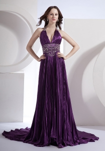 Prom Dress Dark Purple Beading V-neck Halter Brush Train