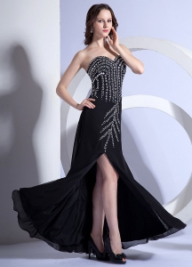 Black Sweetheart Prom Evening Dress Beading High Slit